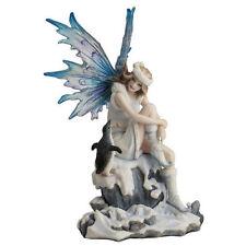 "8"" Snow Fairy w/ Penguin Statue Figure Sculpture Fantasy Home Decor"