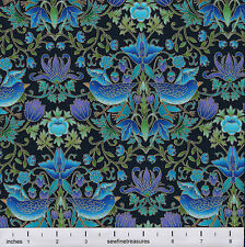 Tree of Life TEAL BIRDS with FLOWERS on BLACK Fabric By the FQ - 1/4 YD