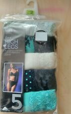 Entièrement neuf sous emballage m/&s 5 Pack Multi Coton Lycra Haute jambes Culottes Slips Taille 26