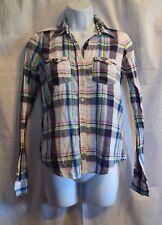 Hollister Purple, Blue & White Plaid Button Down Shirt Size Jrs S