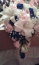 BRIDAL SHOWER BOUQUET FLOWER PACKAGE TEAR-DROP PINK ROYAL BLUE IVORY* 22 PIECES