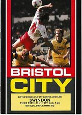 Football Programme>BRISTOL CITY v SWINDON TOWN Aug 1987 Littlewoods Cup