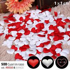 500x Decorazioni CUORE 💗 Raso Petali Festa Bomboniera 1 cm ROSSO BIANCO