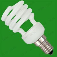4x 14W Low Energy CFL Mini Spiral Light Bulbs; E14, Small Screw, SES, UK Stock