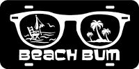 Beach Bum Car Tag sun glasses License Plate  Custom customized Palm