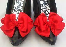 Red ShOe CLiPs For Shoes Satin Bows Pinup Retro Vintage Burlesque Unique Formal