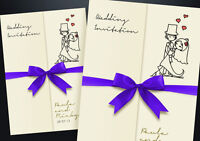 60 PERSONALISED GATEFOLD WEDDING INVITATIONS INCLUDING COLOUR CHOICE OF RIBBON