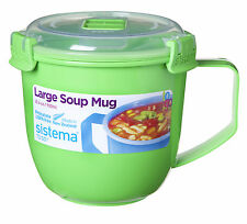 Sistema Large Green Klip It Microwave Soup To Go Mug 900ml Clip Lid Lunch Work
