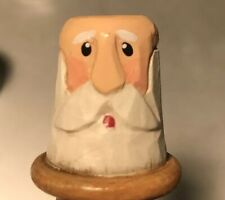 Folk Art carved & painted wooden Bald Bearded Man thimble Sewing Art Collectible