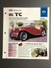 "1945 - 1949 MG TC Roadster IMP ""Hot Cars"" Spec Sheet Folder Brochure Awesome"