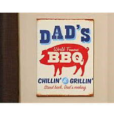 """World Famous BBQ Canvas """"Dad's Chillin & Grillin"""" Dad Cooking Pig pork man cave"""