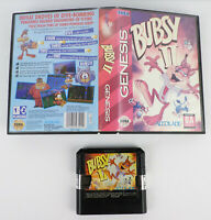 Bubsy II SEGA Genesis Game Cartridge & Clamshell Case Clean Contacts Tested