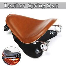 Brown Leather Solo Driver Bracket Seat Base Spring For Bobber Custom UK
