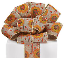 "New 4 yards Fall Sunflowers on Burlap 2-1/2"" Ribbon, Wired Burlap Thanksgiving"