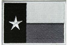 "(C47) Monochrome TEXAS FLAG 3"" x 2"" iron on patch (5204) Biker"