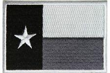 "(C47) Monochrome TEXAS FLAG 3"" x 2"" iron on patch (5204) Biker"