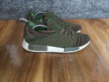 adidas NMD R1 Primeknit STLT mens running trainers Trace Olive, size 9 UK CQ2389