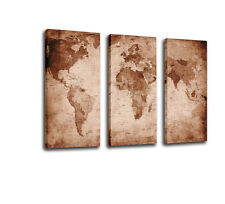 FRAMED Canvas Print Home Decor Wall Art Oil Painting Antique World Map-3pcs
