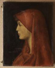 Tableau Portrait Femme Voile Rouge Fabiola d'ap J.J Henner par Stevens Belge XXe