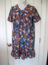 HABAND! WOMAN'S sz M DUSTER Nightgown SIDE POCKETS PERIWINKLE/SALMON FLORALS VnK
