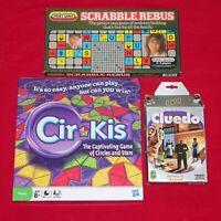3 x Board Games. Scrabble Rebus, Cirkis, Travel Cluedo. Classic bundle vintage