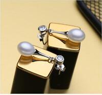 Damen Ohrringe Ohrhänger 925 Sterling Silber Süßwasser Perlen AAA Rhodiniert