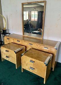 Burl Wood And Chrome Bedroom Set - Estate Find