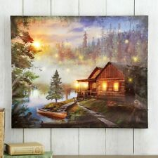 LED Lighted Woodland Cabin Christmas Wall Canvas Decoration