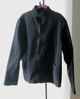 EILEEN FISHER Black Ribbed Cotton Zip Jacket : S Small Women's inv:hang