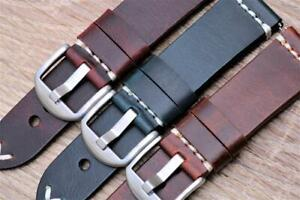 Watch Strap Genuine Calf Leather Double Layered Hand Stitched Vintage Look