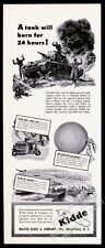 1944 German Army tank on fire art Kidde fire extinguisher vintage print ad