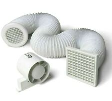 """Inline Extractor Fan 4"""" 100mm for Bathroom Shower with Loft Ducting and Grilles"""
