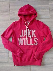 Ladies Jack Wills Hot Pink Hoody Hoodie Jumper Size UK10