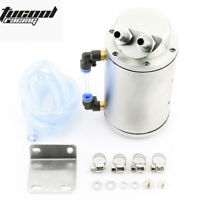 Silver Aluminum Oil Reservoir Catch Can Tank Kit Breather Baffled