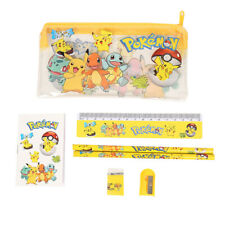 Pokemon Pencil Case Boys Kids School Supplies Stationery Rubber Set