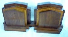 PAIR of Antique Hand Made Solid Wood Art Deco Bookends - 3 lbs each