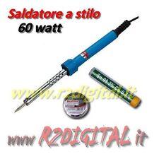 SALDATORE ELETTRICO a STILO 60W PROFESSIONALE  STAGNO + SUPPORTO SALDATURE PUNTA