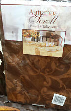 """Bronze 70"""" Round Damask Tablecloth Autumn Harvest Fall Scroll Thanksgiving"""