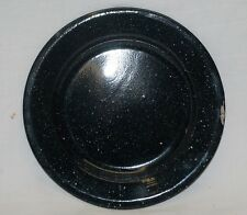 Vintage Style Graniteware Plate Kitchen / Camping Tool Black w White Specks