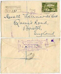 SIERRA LEONE WW2 CENSORED REGISTERED OVALS from STAMP DEALER SEPT 1939