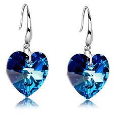 QA_ Lady Chic Blue Heart Rhinestone Ear Hook Dangle Eardrop Earrings Jewelry F
