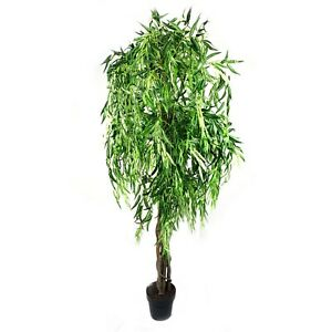 180Cm Tall Potted Artificial Weeping Willow Tree Home Decor Fake Plant Flowers