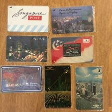 LOT CALLING CARDS PHONE  TELEPHONE VINTAGE SINGAPORE TELECOM Asia USED