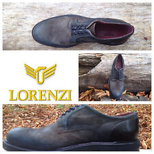 Lorenzi Shoes Mens Made In Italy Suede Handmade Shoes Lace Up Italian EUR 41/42