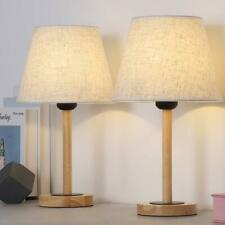 Wood Table Lamp Set of 2, Small Bedside Lamp with Linen...