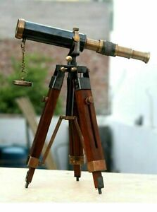 Nautical Design Antique Brass Spyglass Telescope With Wooden Tripod Marine Scope