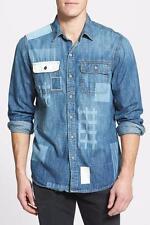 NWT True Religion Men's Graphic Patchwork Denim Shirt Broken Ledge Large