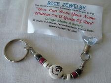 """Vintage """"HOMER"""" Name on GRAIN OF RICE Beaded Keychain Keyring Vintage Unused"""