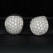 Pave Diamond Huggie Earrings 18k white gold, 1.95 TCW, Clarity SI1, G color
