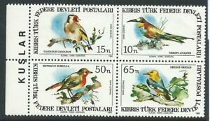 Cyprus Turkish Cypriot Posts 1983 Birds of Cyprus Set Block of 4 MNH
